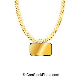 Gold Chain Jewelry Whith Gold Pendants. Vector Illustration....