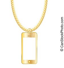Gold Chain Jewelry whith Gold Mobile Phone. Vector...