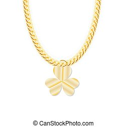 Gold Chain Jewelry whith Three Leaf Clover Vector...