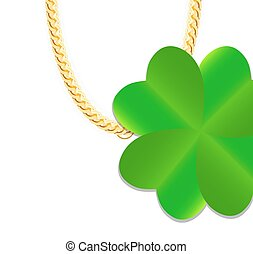 Gold Chain Jewelry whith Green Four-leaf Clover. Vector Illustra