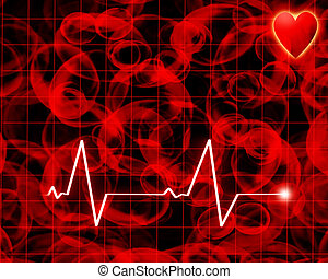 Heart beat on a monitor on a red background