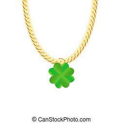 Gold Chain Jewelry whith Green Four-leaf Clover. Vector...