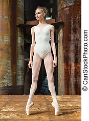 Graceful ballerina on pointe against a background rusty...