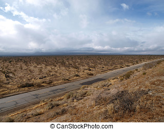 Mojave Storm - Winter storm crossing the Mojave desert in...