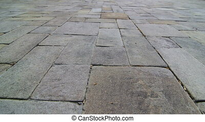 Patio paving slab dolly shot