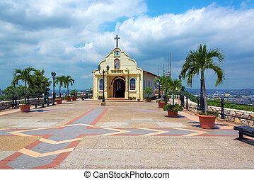 Church in Guayaquil, Ecuador - Church on top of Santa Ana...