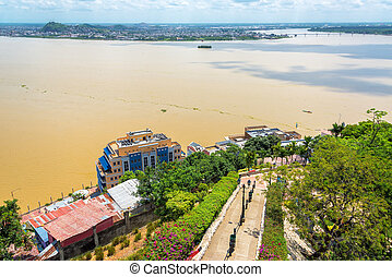 Path and Guayas River - View of a path and the Guayas River...