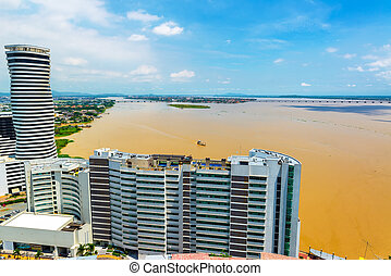 Tower and Guayas River - View of a tower and the Guayas...