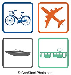 Transports - Set of silhouettes of different transports....