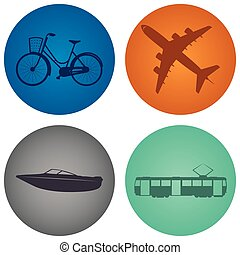 Transports - Set of labels with silhouettes of different...