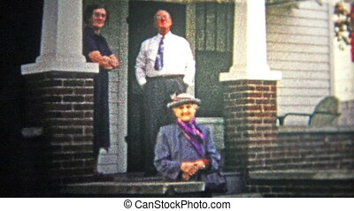 CHATTANOOGA, USA - 1952: Elders on the front porch -...