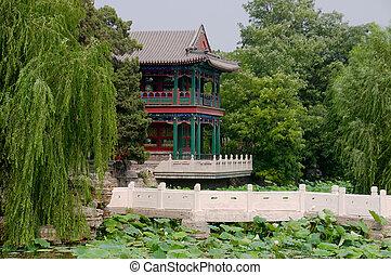 Lotus pond - The panorama of lotus pond, garden with...