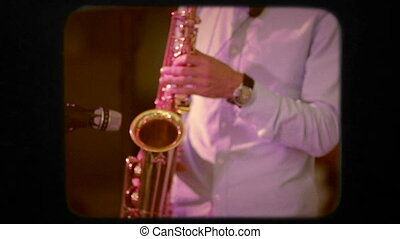 Saxophone Player In Action. Retro