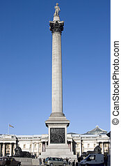 Nelsons Column - Trafalgar Square with Nelsons Column and a...