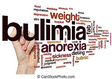 bulimia, palabra, nube