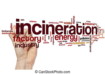 Incineration word cloud concept with waste smoke related...