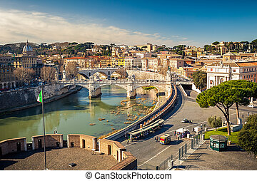 View on Tiber river in Rome