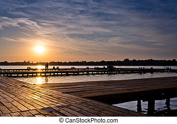 sunset at lake Palic - beautiful sunset at Palic lake in...