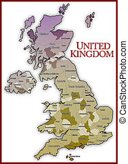 United Kingdom Map - There is United Kingdom Map with white...