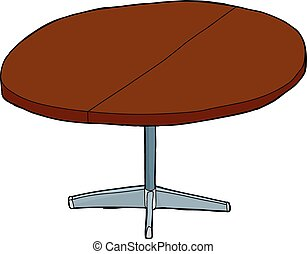 Single Expandable Round Table - Isolated cartoon wooden...
