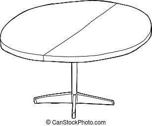 One Round Table Outlined - One cartoon wooden round table...