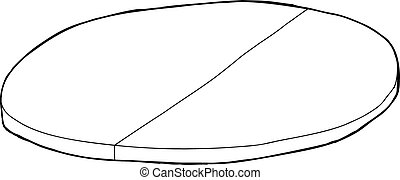 Outlined Tabletop with Partition - Single cartoon outline of...