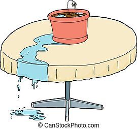Over-Watered Houseplant on Table - Illustration of dying...