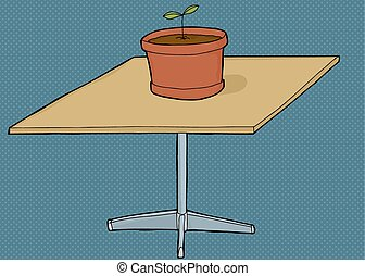 Houseplant on Square Table - Single houseplant on top of...