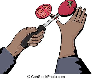 Knife Cutting Thumb and Tomato - Isolated illustration of...