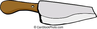 Isolated Meat Cleaver - Single meat cleaver knife over white...