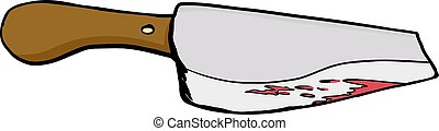 Bloody Meat Cleaver - Single bloody meat cleaver drawing...