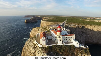 Lighthouse Sagres in Portugal - Aerial from the lighthouse...