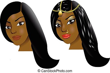 Before After Face1 - Vector Illustration of a woman with...