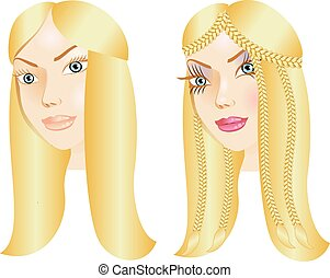 Before and After - Vector Illustration of a woman with...