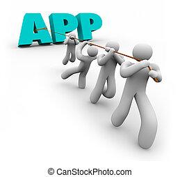 App Word Working Together Application Programmer Developer Team