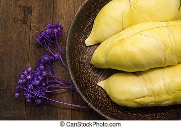 Thai Durian, tropical fruit - Thai Durian in the palm wood...