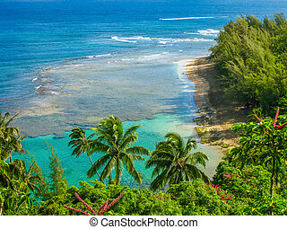 Kee Beach Kauai - Panoramic view of the famous Kee Beach in...