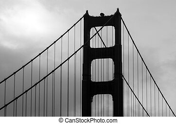 Silhouette of the Golden Gate Bridge in San Fransisco, CA BW...