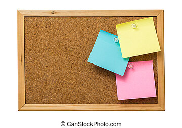 colorful sticky notes on cork bulletin board