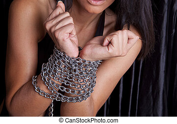 Sex Victim - Attravtiv Woman Arms In Chains