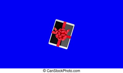 Tablet pc with a red ribbon on a blue screen. 3d animation