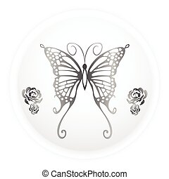 Butterfly Silhouette - grey colour