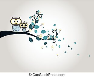 Two cute owls on a tree branch silhouette - colorfull