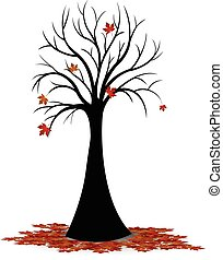Silhouette of tree leaves falling