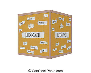 Life Coach 3D Corkboard Word Concept with great terms such...