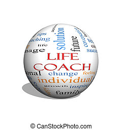 Life Coach 3D Sphere Word Cloud Concept with great terms...
