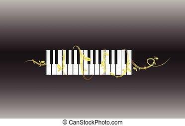鋼琴, 黑色半面畫像, 悅耳的音調
