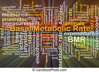 Basal metabolic rate BMR background concept glowing -...