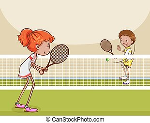 Tennis - Man and woman playing tennis in the lawn court