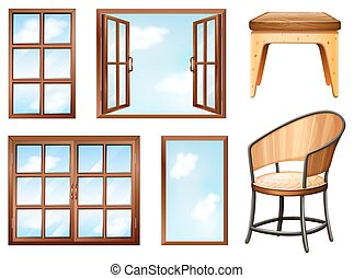 Windows - Different design of windows and chairs